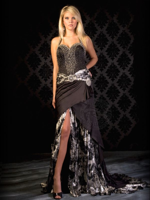 DM571 Evening Gown Satin beaded dress with halter top, diamond shape open back and pleated print with train Diaa Designs