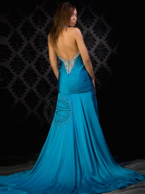 DM589 Gorgeously halter pageant dress, has pleated satin and featuring asymmetric couture cuts Diaa Designs