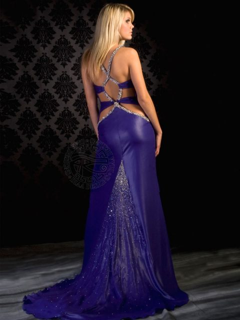 DM591 Evening Gown Shimmer Chiffon dress with V-shaped straps Diaa Designs